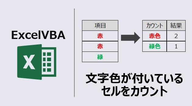 エクセルマクロ:文字色がついているセルをカウント アイキャッチ