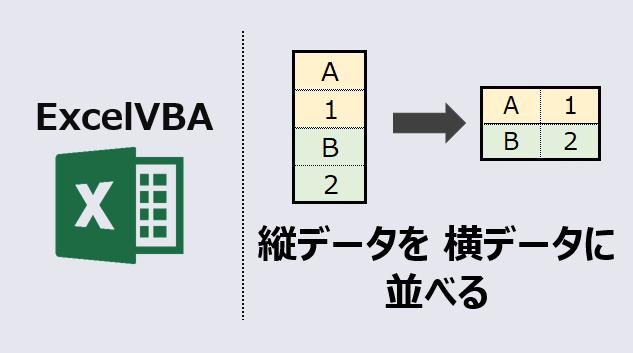 エクセルマクロ 縦データを横データに変換アイキャッチ