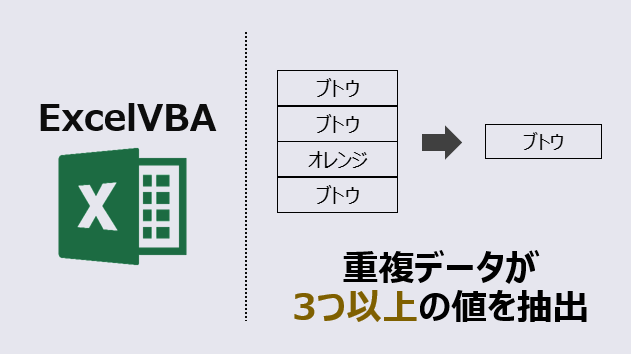 エクセルマクロ_重複データが3つ以上の値を抽出_アイキャッチ