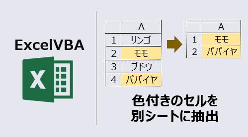 エクセルマクロ_色付きセルを別シートに抽出_アイキャッチ